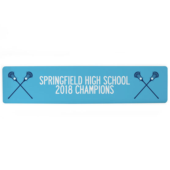 "Guys Lacrosse Aluminum Room Sign - Team Your Text With Crossed Sticks (4""x18"")"
