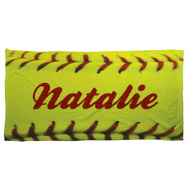 Softball Beach Towel Personalized Stitches