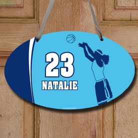 Basketball Oval Room Sign Personalized Basketball Girl with Big Number