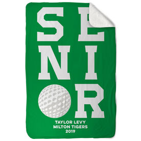 Golf Sherpa Fleece Blanket - Personalized Senior