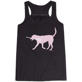 Girls Lacrosse Flowy Racerback Tank Top - LuLa the LAX Dog (Pink)