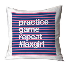 Girls Lacrosse Throw Pillow - Practice Game Repeat
