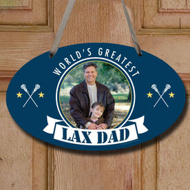 World's Greatest Lax Dad (Girl Stick) Custom Photo Decorative Oval Sign