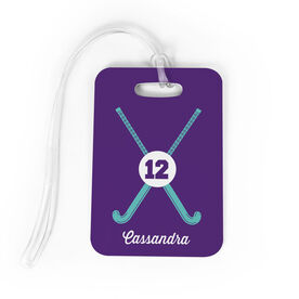 Field Hockey Bag/Luggage Tag - Personalized Crossed Sticks