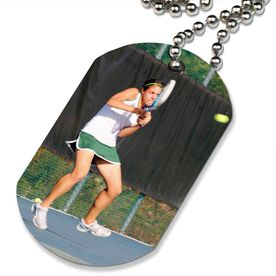 Custom Tennis Photo Printed Dog Tag Necklace