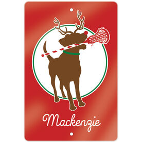"Girls Lacrosse 18"" X 12"" Aluminum Room Sign Jingles the Reindeer Lax Dog"