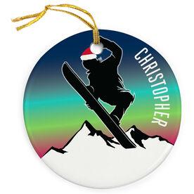 Snowboarding Porcelain Ornament Sunset
