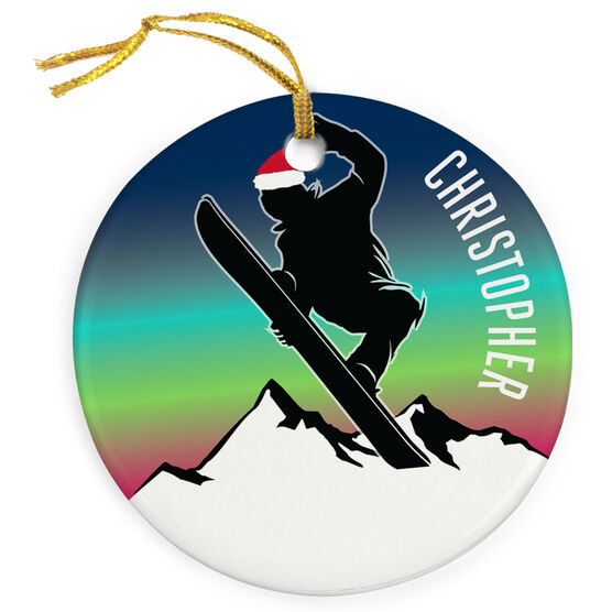 Snowboarding Porcelain Ornament Sunset