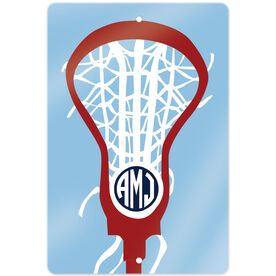 """Girls Lacrosse 18"""" X 12"""" Aluminum Room Sign Monogrammed Lax is Life"""