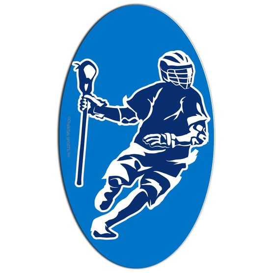 Guys Lacrosse Oval Car Magnet Dodging Player