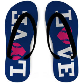 Softball Flip Flops Love