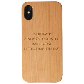 Personalized Engraved Wood IPhone® Case - Your Text Vertical