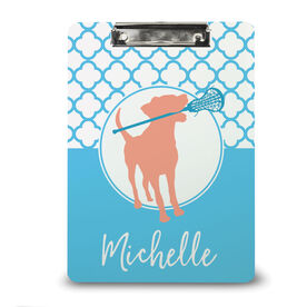 Girls Lacrosse Custom Clipboard Personalized Lacrosse Dog with Girl Stick