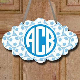 Soccer Cloud Sign Monogram with Soccer Ball Pattern