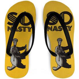 Guys Lacrosse Flip Flops Honey Badger So Nasty