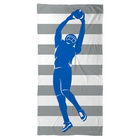 Football Beach Towel Stripes with Player Silhouette