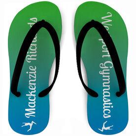 Gymnastics Flip Flops Personalized Ombre Team Spirit
