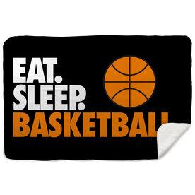 Basketball Sherpa Fleece Blanket - Eat. Sleep. Basketball. Horizontal
