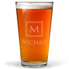 Personalized 16 oz. Beer Pint Glass - Classic Monogram