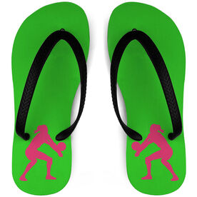 Volleyball Flip Flops Female Player Silhouette