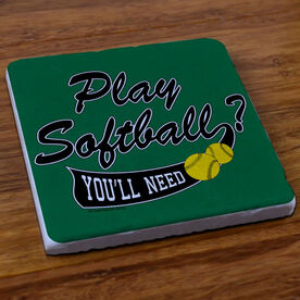 Play Softball?  You'll Need Balls - Stone Coaster