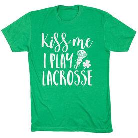 Girls Lacrosse Short Sleeve T-Shirt - Kiss Me I Play Lacrosse