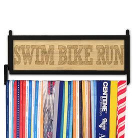 TriathletesWALL Engraved Bamboo Medal Display Swim Bike Run Sketch