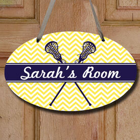 Personalized Girl Lacrosse Sticks Chevron Decorative Oval Sign