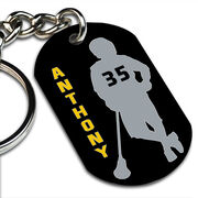 Lacrosse Printed Dog Tag Keychain Personalized Chillax'n Silhouette