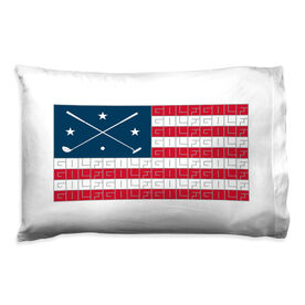 Golf Pillowcase - American Flag Words