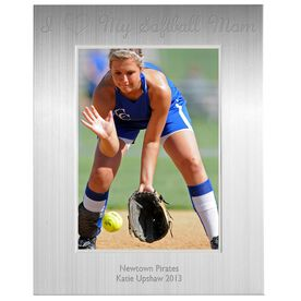 Engraved Softball Frame Silver 5 x 7 with I Heart My Softball Mom