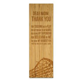 "Girls Lacrosse 12.5"" X 4"" Engraved Bamboo Removable Wall Tile - Dear Mom"