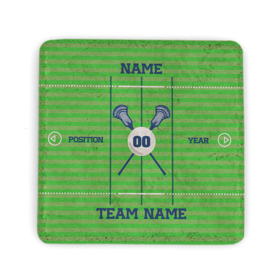 Guys Lacrosse Stone Coaster - Personalized Team