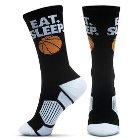 Basketball Woven Mid-Calf Socks - Eat. Sleep. Basketball Ball