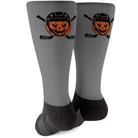 Hockey Printed Mid-Calf Socks - Helmet Pumpkin