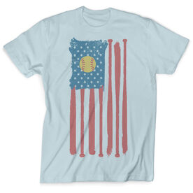 Softball Vintage T-Shirt - American Flag with Ball