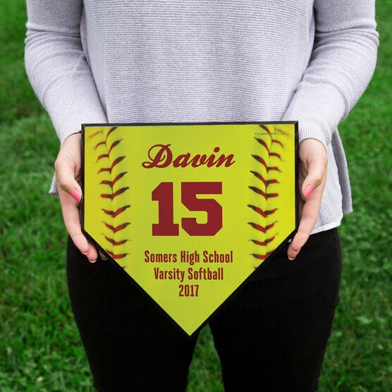 Softball Personalized Softball Stitches Home Plate Plaque