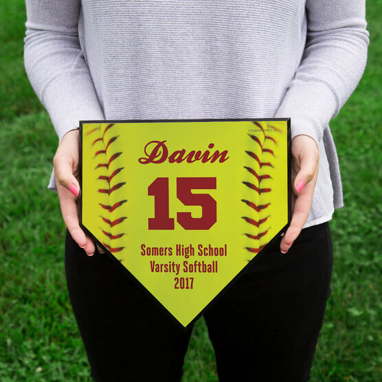 Softball Personalized Softball Stitches Home Plate Plaque