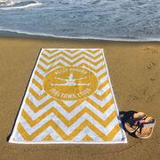 Cheerleading Premium Beach Towel - Personalized Silhouette with Chevron