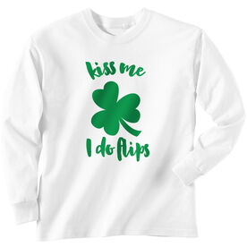 Gymnastics Tshirt Long Sleeve Kiss Me I Do Flips