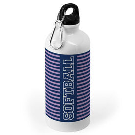 Softball 20 oz. Stainless Steel Water Bottle - Word With Stripes