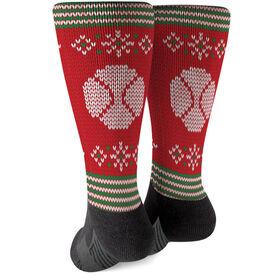 Baseball Printed Mid-Calf Socks - Christmas Knit