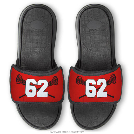 Girls Lacrosse Repwell™ Sandal Straps - Crossed Sticks with Number