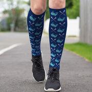Girls Lacrosse Printed Knee-High Socks - Whale Pattern