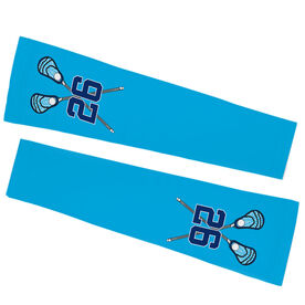 Guys Lacrosse Printed Arm Sleeves - Personalized Number with Crossed Sticks
