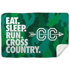 Cross Country Sherpa Fleece Blanket - Eat. Sleep. Cross Country. Horizontal