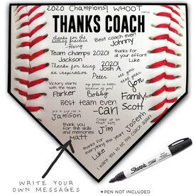 Baseball Home Plate Plaque - Thanks Coach