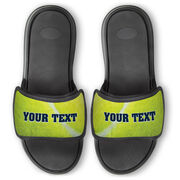 Tennis Repwell® Slide Sandals - Tennis Ball Texture with Text