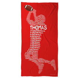 Football Beach Towel Personalized Words
