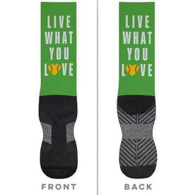 Softball Printed Mid-Calf Socks - Live What You Love